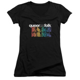 Juniors: Queer As Folk - Cast V-Neck Shirt
