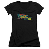 Juniors: Back To The Future III - Logo V-Neck Shirt