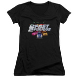 Juniors: 2 Fast 2 Furious - Logo V-Neck T-shirts