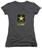 Juniors: Army - Logo V-Neck T-Shirt