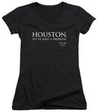 Juniors: Apollo 13 - Houston V-Neck T-shirts