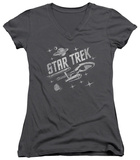 Juniors: Star Trek - Through Space V-Neck T-shirts