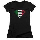 Juniors: Superman - Italian Shield V-Neck Shirt