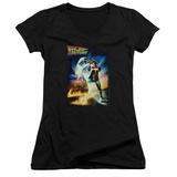 Juniors: Back To The Future - Poster V-Neck T-Shirt