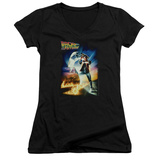 Juniors: Back To The Future - Poster V-Neck T-Shirt