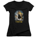 Juniors: The Adventures of Tintin - Poster V-Neck T-Shirt