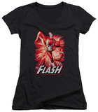 Juniors: The Flash - Flash Red & Gray V-Neck T-shirts
