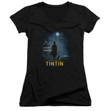 Juniors: The Adventures of Tintin - Title Poster V-Neck T-shirts