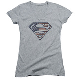 Juniors: Superman - War Torn Flag V-Neck Shirt