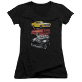 Juniors: The Fast And The Furious - Muscle Car Splatter V-Neck T-shirts
