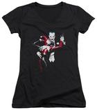 Juniors: Batman - Harley And Joker V-Neck T-Shirt