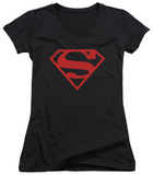 Juniors: Superman - Red On Black Shield V-Neck T-Shirt