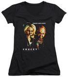 Juniors: Bride Of Chucky - Chucky Gets Lucky V-Neck Shirts