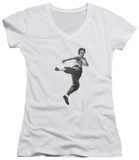 Juniors: Bruce Lee - Flying Kick V-Neck Shirt