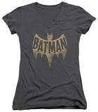Juniors: Batman Classic TV - Vintage Logo V-Neck T-shirts