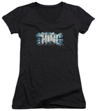 Juniors: The Thing - Logo V-Neck T-Shirt