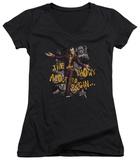Juniors: Batman Arkham City - About To Begin V-Neck T-shirts