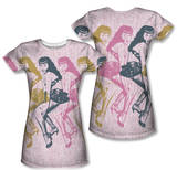 Juniors: Bettie Page - Multiples (Front/Back Print) T-shirts