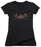 Juniors: Batman Arkham Asylum - Arkham Asylum Logo V-Neck Shirts