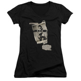 Juniors: Bettie Page - Newspaper & Lace V-Neck T-shirts