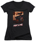 Juniors: They Live - Poster V-Neck Shirt