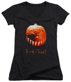 Juniors: Trick R Treat - Pumpkin V-Neck T-shirts