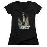 Juniors: Bionic Woman - Motion Blur V-Neck T-Shirt