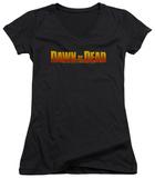 Juniors: Dawn Of The Dead - Dawn Logo V-Neck T-Shirt