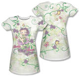Juniors: Betty Boop - Flower Fairy (Front/Back Print) T-Shirt