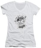 Juniors: Dark Knight Rises - Penciled Knight V-Neck T-shirts