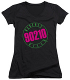 Juniors: Beverly Hills 90210 - Neon V-Neck T-Shirt