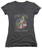 Juniors: Wonder Woman - Plays Rough V-Neck Womens V-Necks