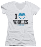 Juniors: Big Miracle - I Heart Whales V-Neck T-shirts