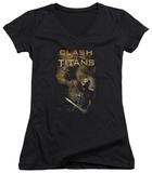 Juniors: Clash Of The Titans - Medusa Head V-Neck T-shirts