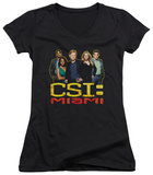 Juniors: CSI Miami - The Cast In Black V-Neck T-Shirt