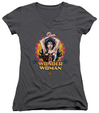 Juniors: Wonder Woman - Powerful Woman V-Neck Shirts