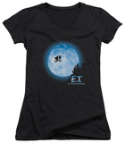 Juniors: E.T. - Moon Scene V-Neck T-shirts