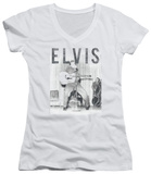 Juniors: Elvis Presley - With The Band V-Neck T-shirts