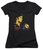 Juniors: Elvis Presley - Neon Elvis V-Neck T-Shirt