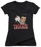 Juniors: Elvis Presley - Trouble V-Neck T-shirts