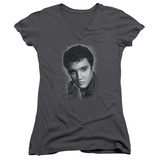 Juniors: Elvis Presley - Grey Portrait V-Neck T-shirts