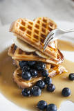 Waffels with Golden Syrup and Blue Berries Photographic Print by Devin Hart