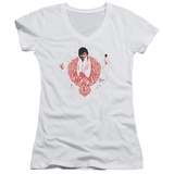 Juniors: Elvis Presley - Red Pheonix V-Neck T-shirts