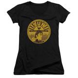 Juniors: Elvis Presley - Elvis Full Sun Label V-Neck T-shirts
