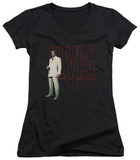 Juniors: Elvis Presley - White Suit V-Neck T-shirts