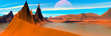 Panoramic View. Desert Spires. Digitally Generated Photographic Print by Raj Kamal