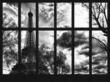Window View - Sunset View of the Eiffel Tower - Paris - France - Europe Photographic Print by Philippe Hugonnard