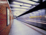 Metro Carriage Leaving Subway Station in New York. Photographic Print by  Dutchy
