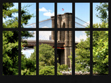 Window View - the Brooklyn Bridge - Manhattan - New York City - USA Photographic Print by Philippe Hugonnard