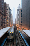 Elevated Commuter Train in Chicago Loop Photographic Print by Photo by John Crouch